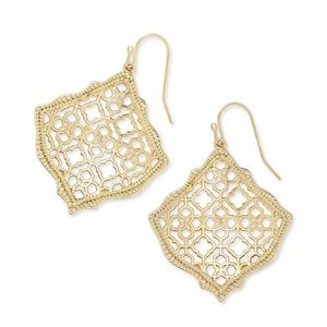 Kendra Scott Kirsten Gold Filigree earrings New